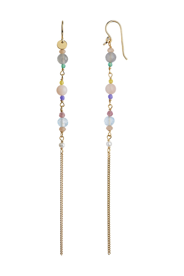 Long Earring with Stones and Chain - Gold - Stine A