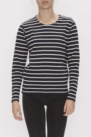 My Lounge sweatshirt med striber - Navy/ecru