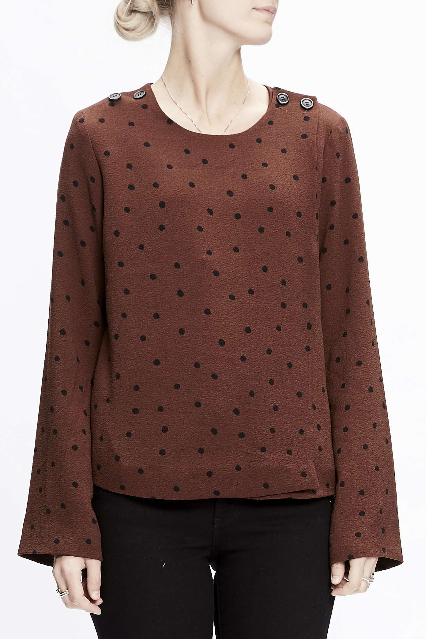 Image of   Karlie dot suit bluse - rust L