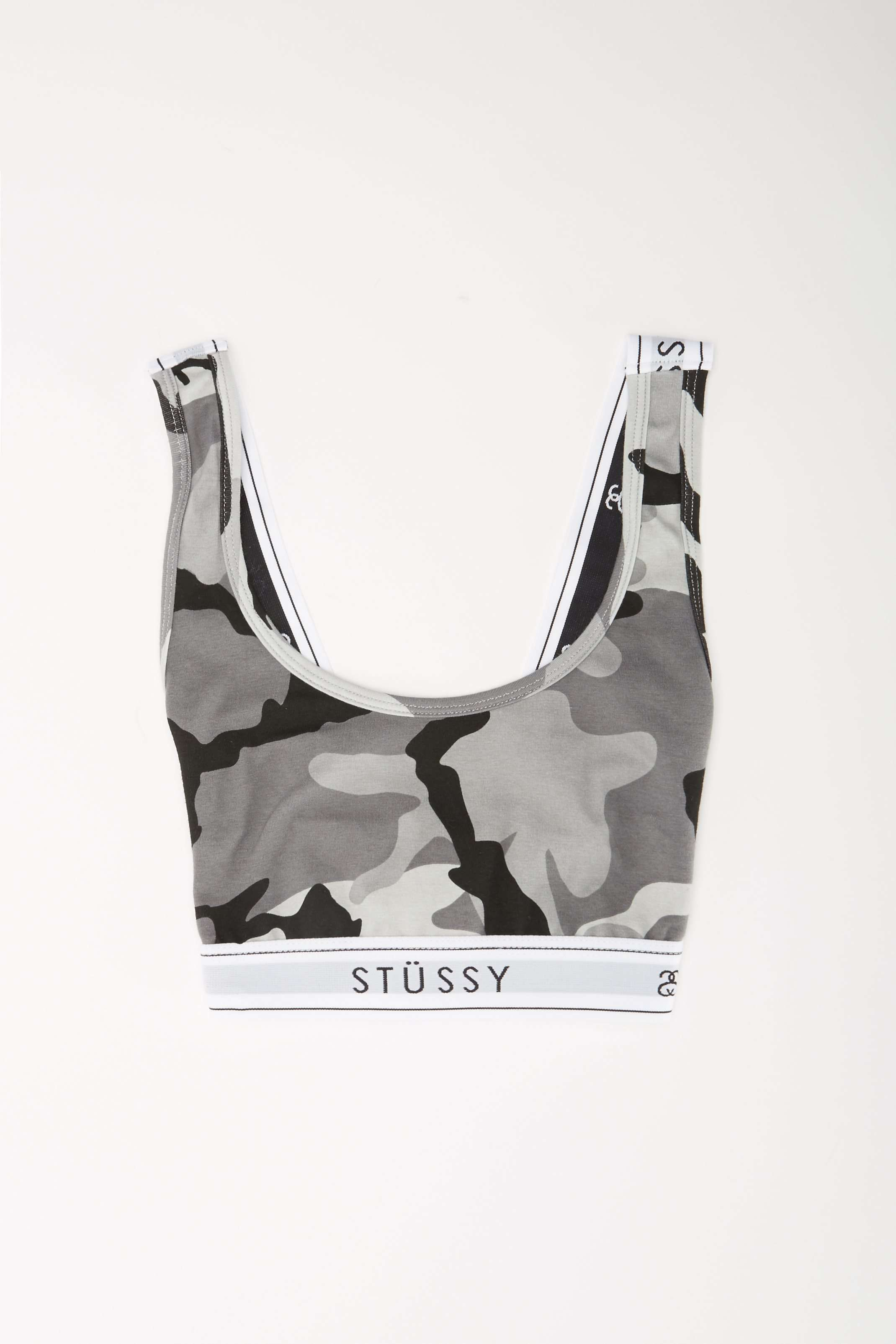 Image of   Cross Back Crop Top - Camo/ grå - Camouflage L