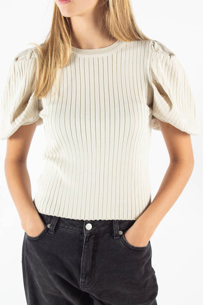Alice Puffy Knit T-shirt - Creme - irréel