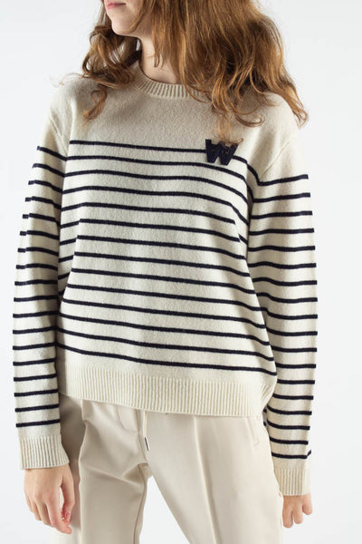 Anneli Lambswool Jumper - Off White Stripes - Wood Wood