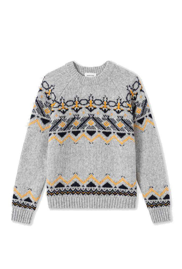 Asta Sweater - Grey Jacquard- Wood Wood