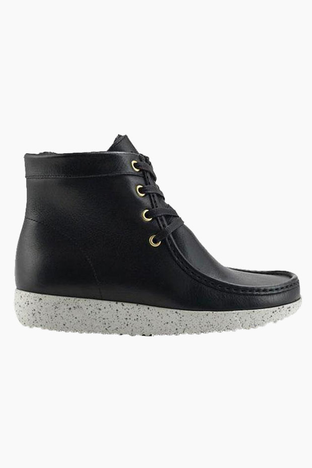 Asta Pull Up Leather w. Fur - Black - Nature Footwear