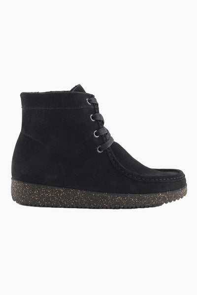 Asta Suede w. Fur (CF) - Black w. Matching Sole - Nature Footwear