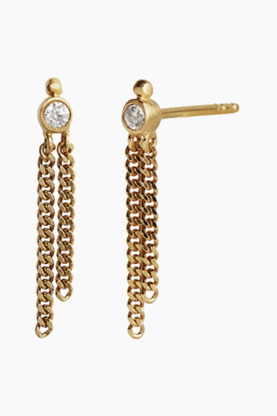 Big Dot Earring With Two Chains - Gold - Stine A