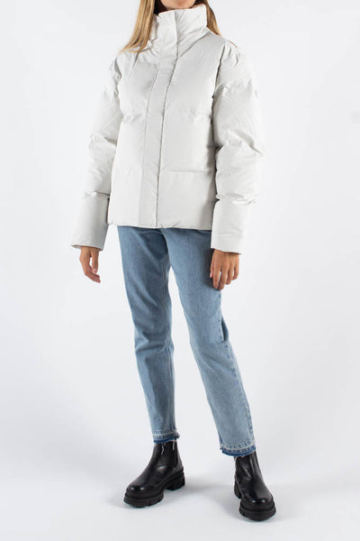 Boxy Puffer Jacket - Off White - Rains