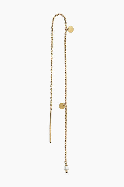 Dangling Petit Coin And Stone - Gold/White Pearl - Stine A