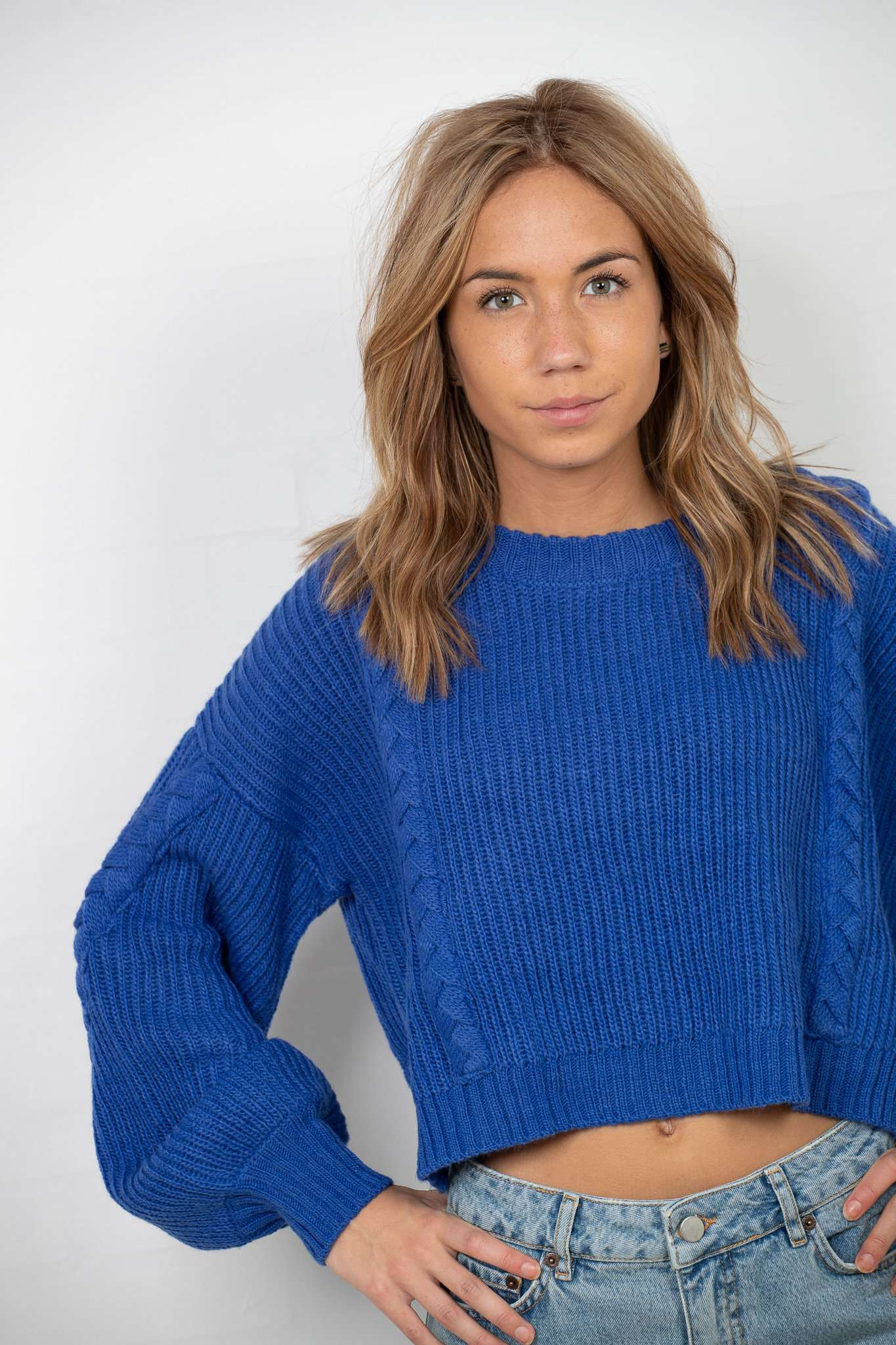 Short Cable Knitted Sweater - Stone Blue - NA-KD - Blå XS