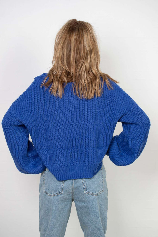 Short Cable Knitted Sweater Stone Blue fra NA-KD - bagfra