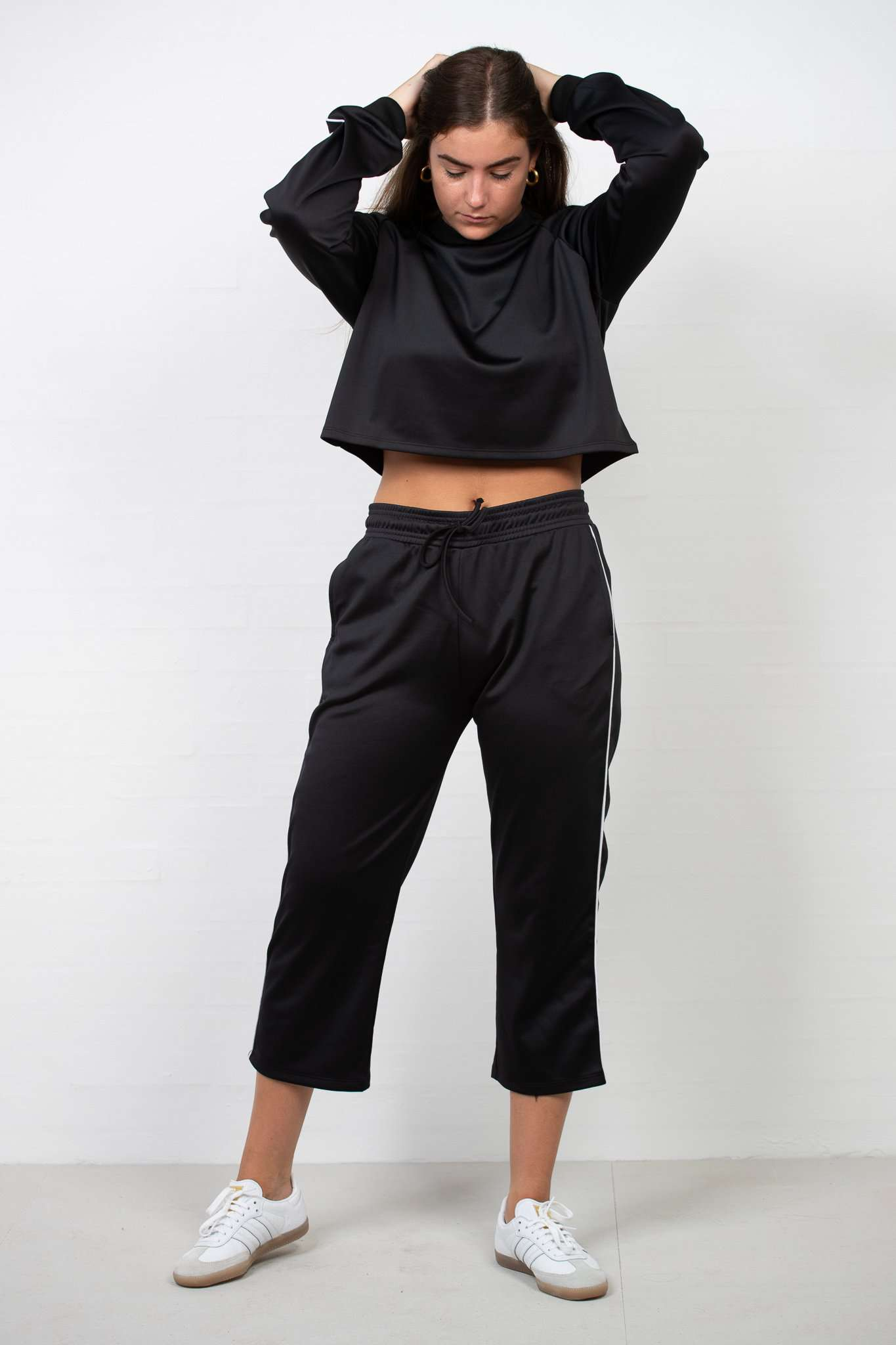 Cropped Track Pants - Sort M