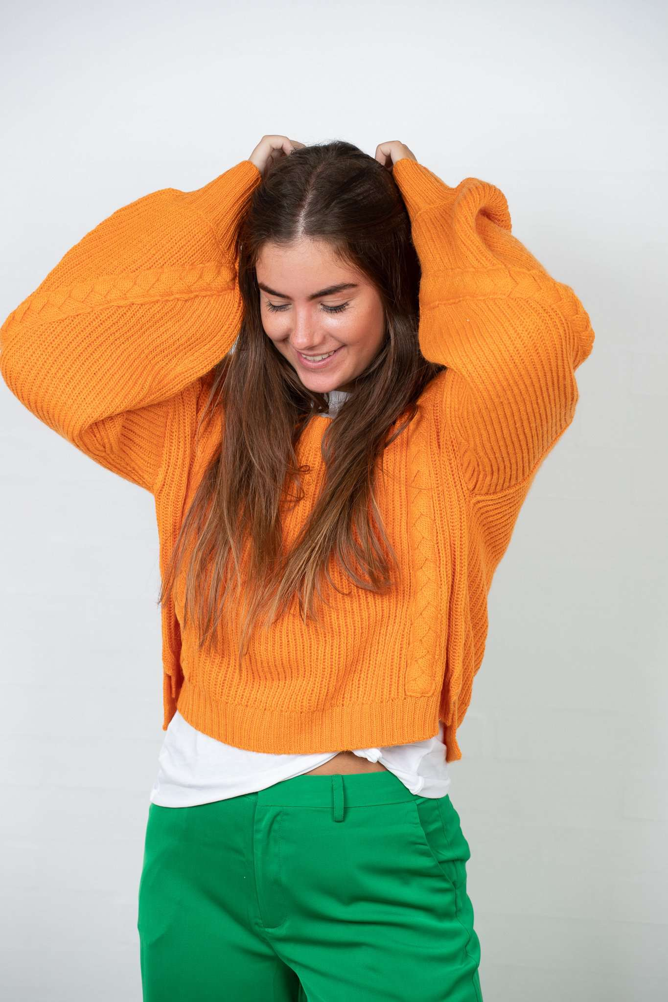 Short Cable Knitted Sweater - Orange - NA-KD - Orange M