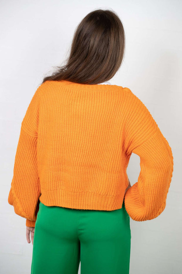 Short Cable Knitted Sweater i Orange fra NA-KD - 2