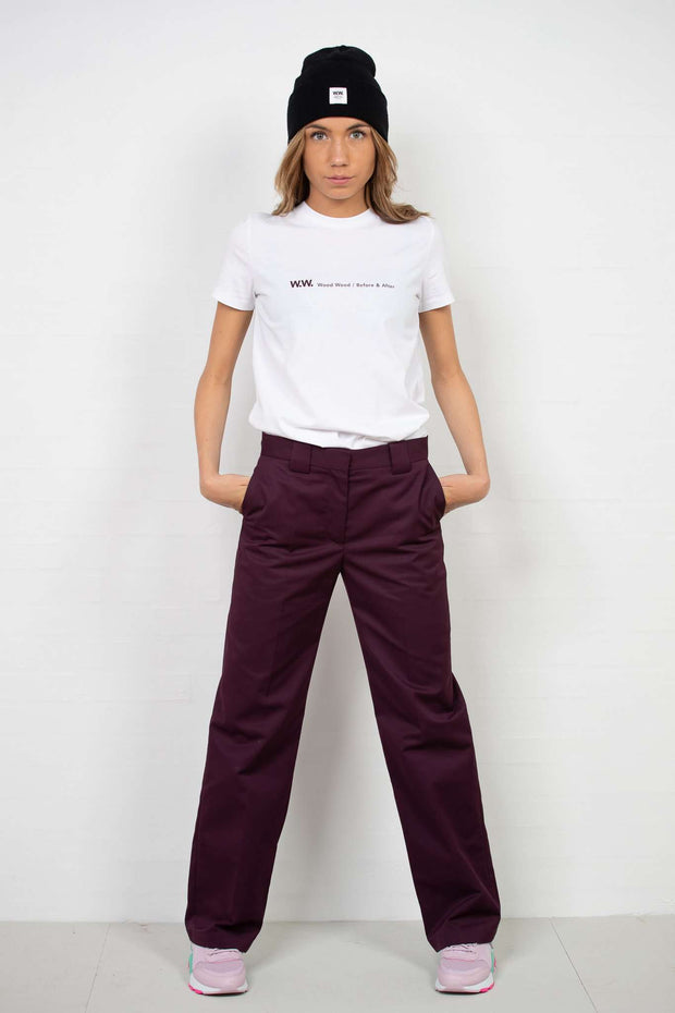 Veneda Trousers - Burgundy fra Wood Wood - outfit