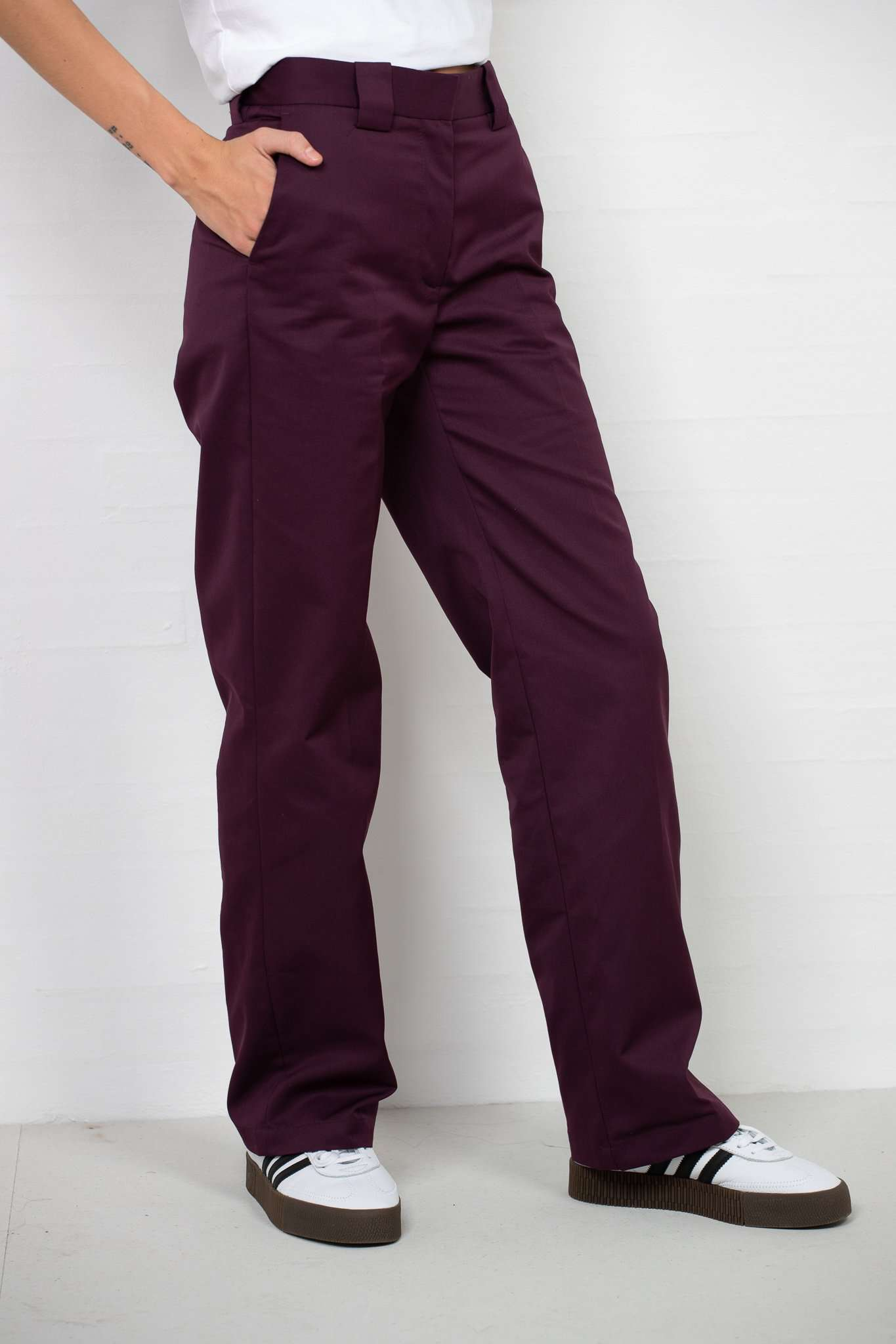 Veneda Trousers - Burgundy - Burgundy/Bordeaux L