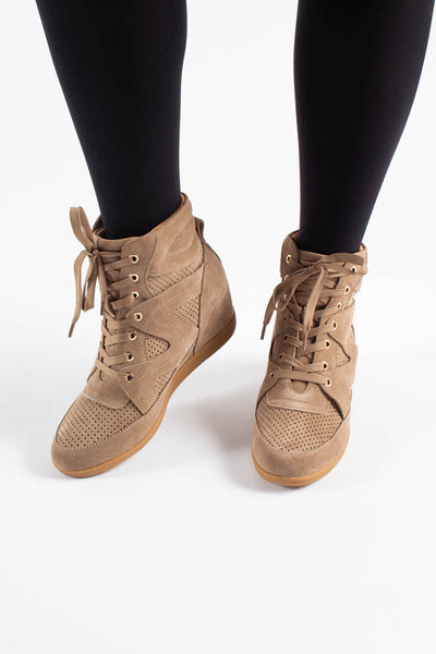 Emmy Lace Suede - Taupe - Shoe The Bear