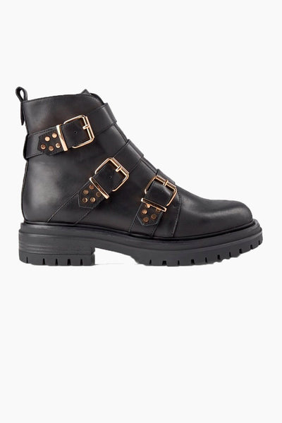 Franka Strappy Leather boot - Sort - Shoe The Bear