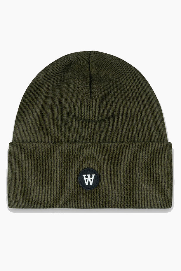Gerald Tall Beanie - Army Green - Wood Wood
