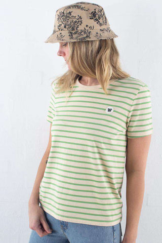 Off-White/Green Stripe Wood Wood Uma T-shirt