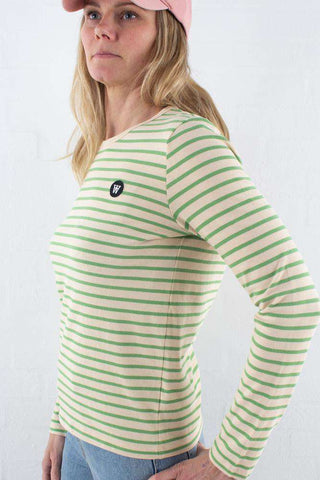 Off white/green stripes Moa Long Sleeve fra Wood Wood