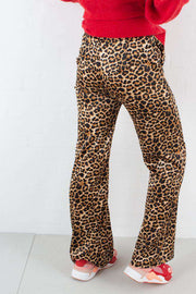 Flared Shiny Leo Pants - Leoprint - NA-KD
