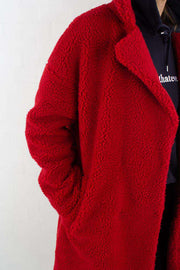Teddy Coat - Red fra NA-KD - materiale