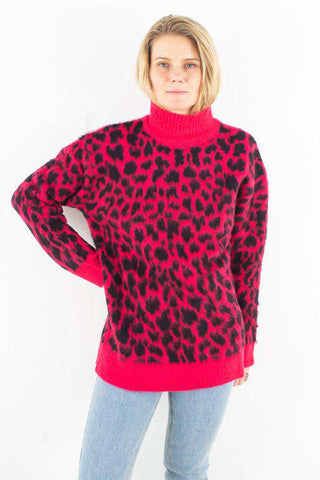 Oversized Leo Sweater - Pink/Black fra NA-KD