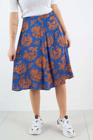 Rosemary Skirt i Tourist Blue fra Wood Wood -