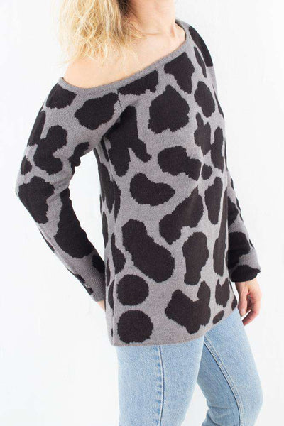Off Shoulder Chunky Knit - Grey Leopard fra NA-KD