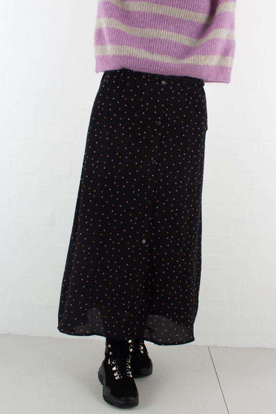 Harper Skirt - Black/Purple Dot fra Gestuz