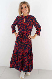 Raida Long Dress - Red Flower fra Gestuz - front