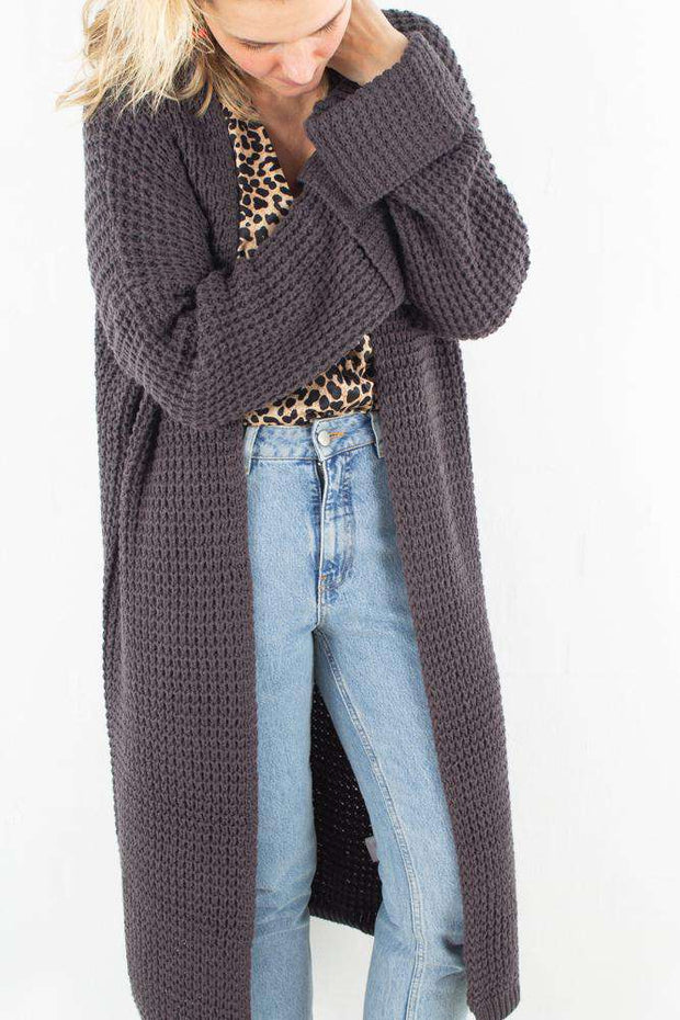 Oversized Chunky Sleeve Knit - Dark Grey - NA-KD