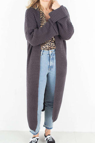 Oversized Chunky Sleeve Knit - Dark Grey fra NA-KD