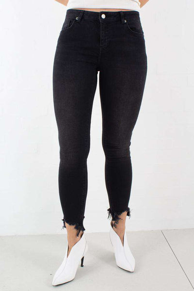 High Rise Skinny Side Details Jeans i Black fra NA-KD 1