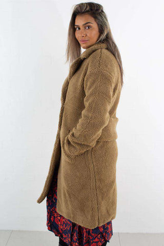 Big Collar Teddy Coat Brown fra NA-KD - 1