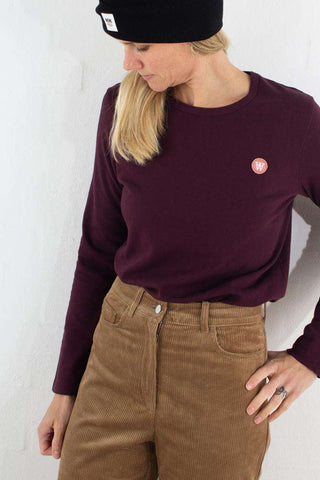 Moa Long Sleeve - Burgundy fra Wood Wood