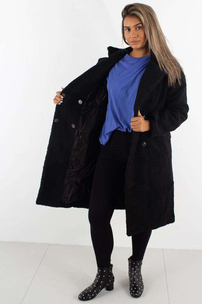 Big Collar Teddy Coat - Black - Sort M