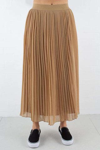 Dark Sand Pleated Long Skirt fra NA-KD 1