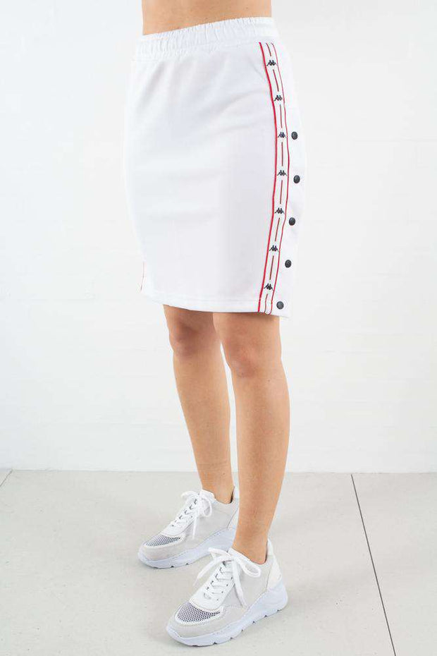 Auth. Baloma Snap Skirt i White/Red/Black fra Kappa