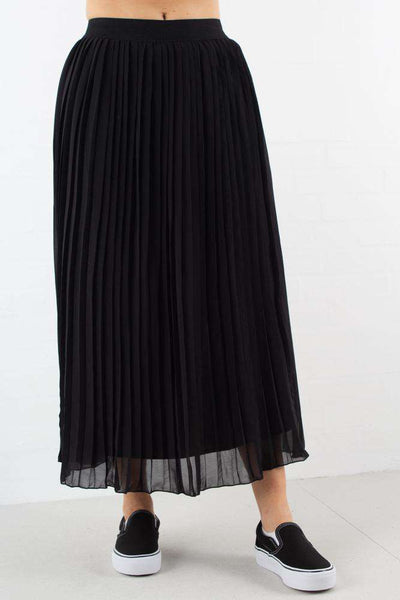 Black Pleated Long Skirt fra NA-KD