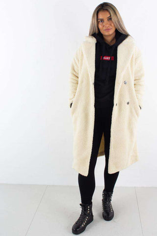 Big Collar Teddy Coat Offwhite fra NA-KD - front