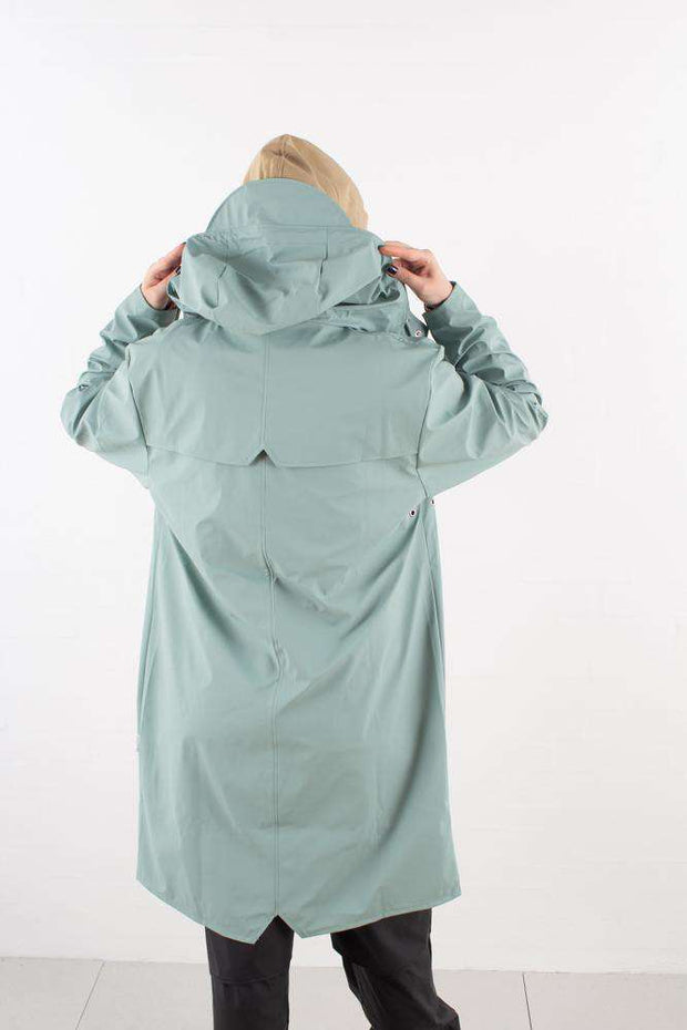 Dusty Mint Long Jacket regnfrakke fra Rains - 2