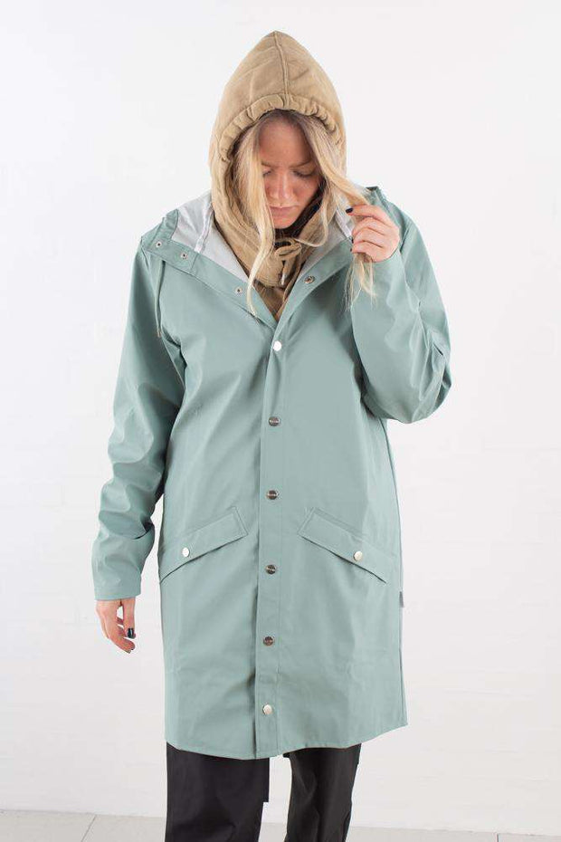 Dusty Mint Long Jacket regnfrakke fra Rains - 4