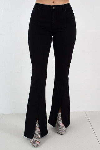Uma Jeans - Satin Black Split fra 2nd One 1
