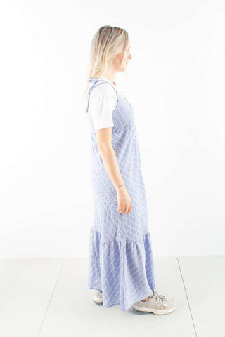 TuanGZ Long Dress - Blue/White Stripes - Gestuz 1