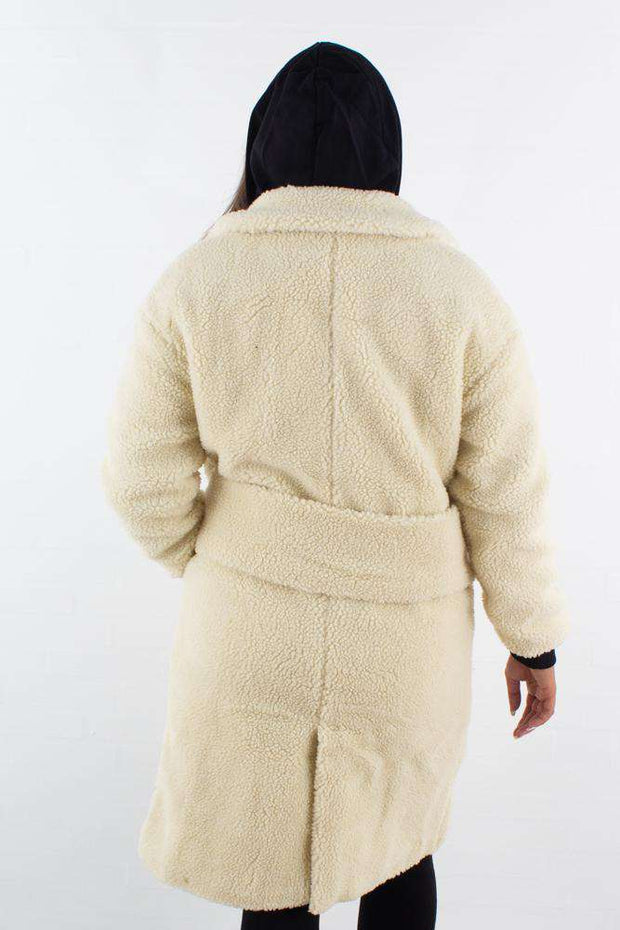 Big Collar Teddy Coat - Offwhite - NA-KD