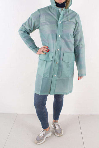 Foggy Dusty Mint Hooded Coat fra Rains - 3