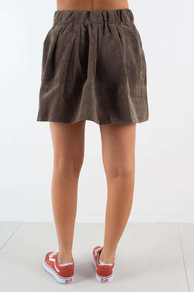 Kia Corduroy Skirt - Dusty Olive - Moves