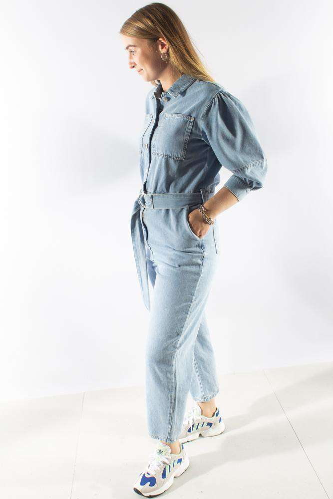 Puff Sleeve Jumpsuit - Light Blue - NA-KD - Blå XS