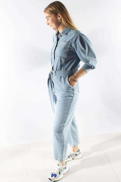 Puff Sleeve Jumpsuit - Light Blue - NA-KD 1